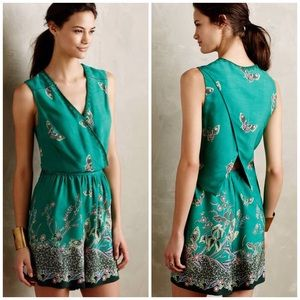 Anthropologie Elevenses Butterfly Green Romper